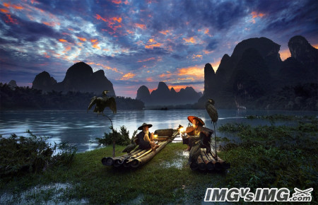 night boat fisherman water mountain dawn bird chinese