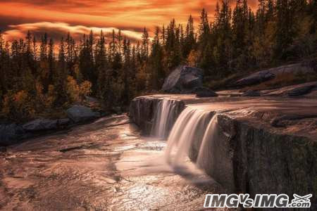 forest waterfall rock sunset