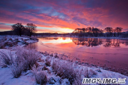 winter water sunset snow dust dawn reflection