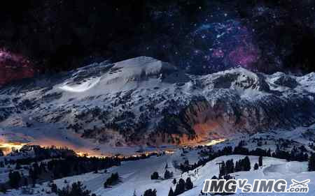 snow mountain sky star tree aurora